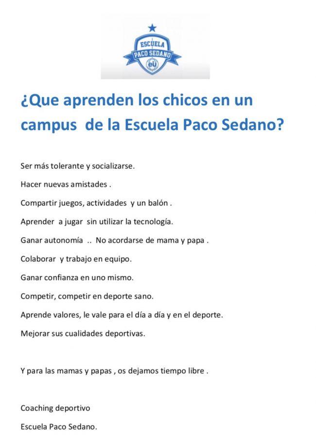 Campus navidad Paco Sedano - Campus de Fútbol